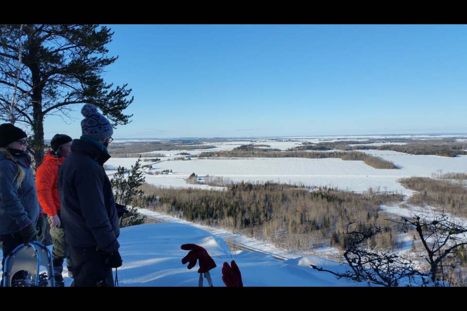 There are so many places to go snowshoeing, this view is from the Triangle Rock west of New Liskeard on Highway 65.
