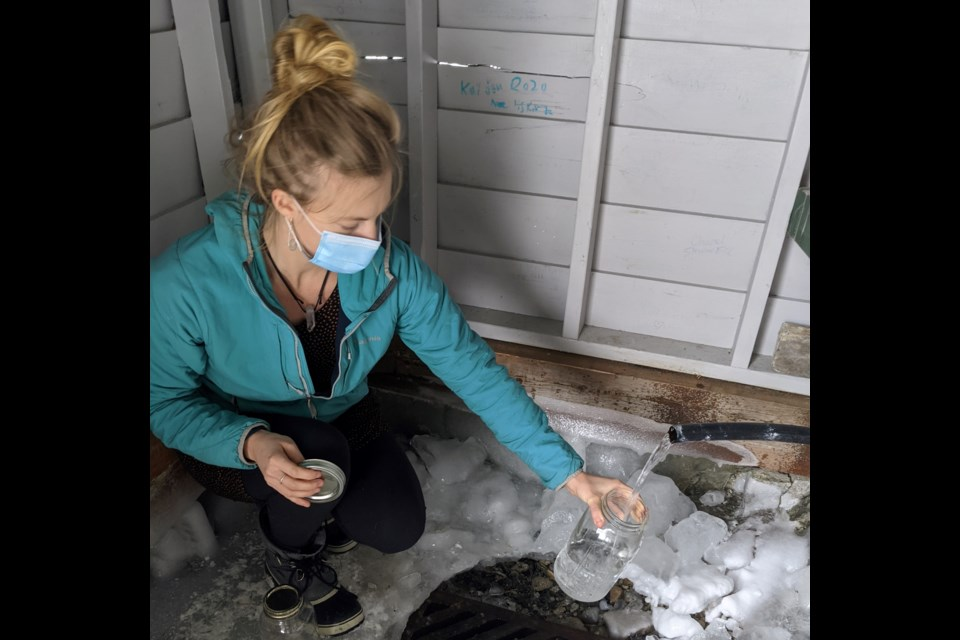 One of the most protected springs is located just north of Temagami. Ali Steer takes a sample.