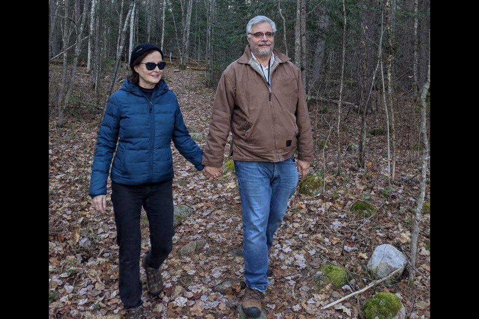 Hilary Cunningham and Stephen Scharper on trail.   - University of Toronto professors, Hilary Cunningham and Stephen Scharper, were the co-authors of the original Green  Bible, linking spirituality with nature. Bill Steer for Village Media.