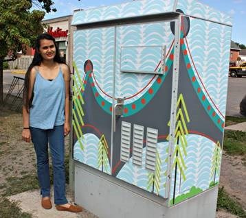Khushali Contractor used city landmarks in her design. Photo submitted