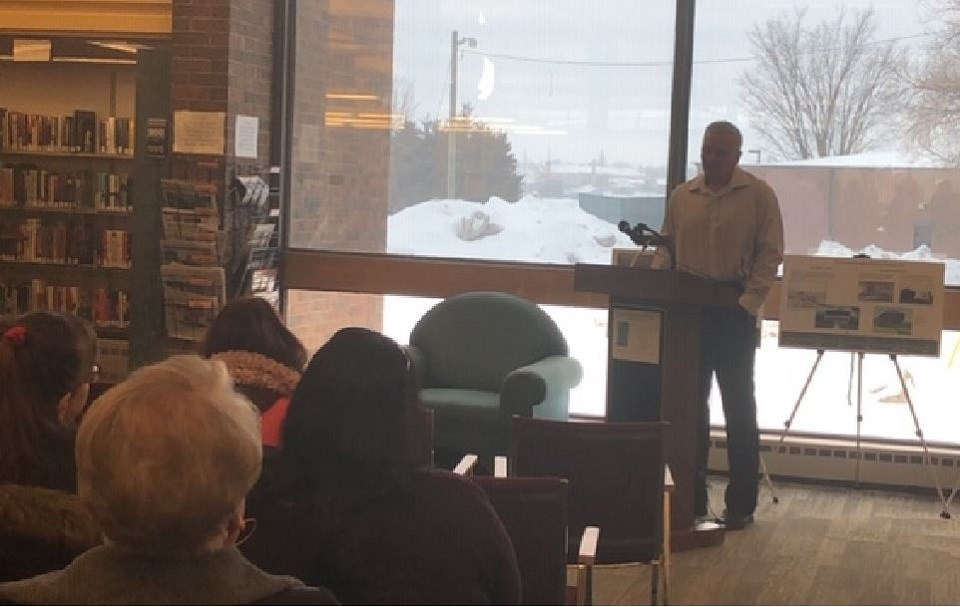 Alex Chornyj addresses audience at his book launch for Vincelles at the Sault Ste. Marie Public Library. Photo provided.