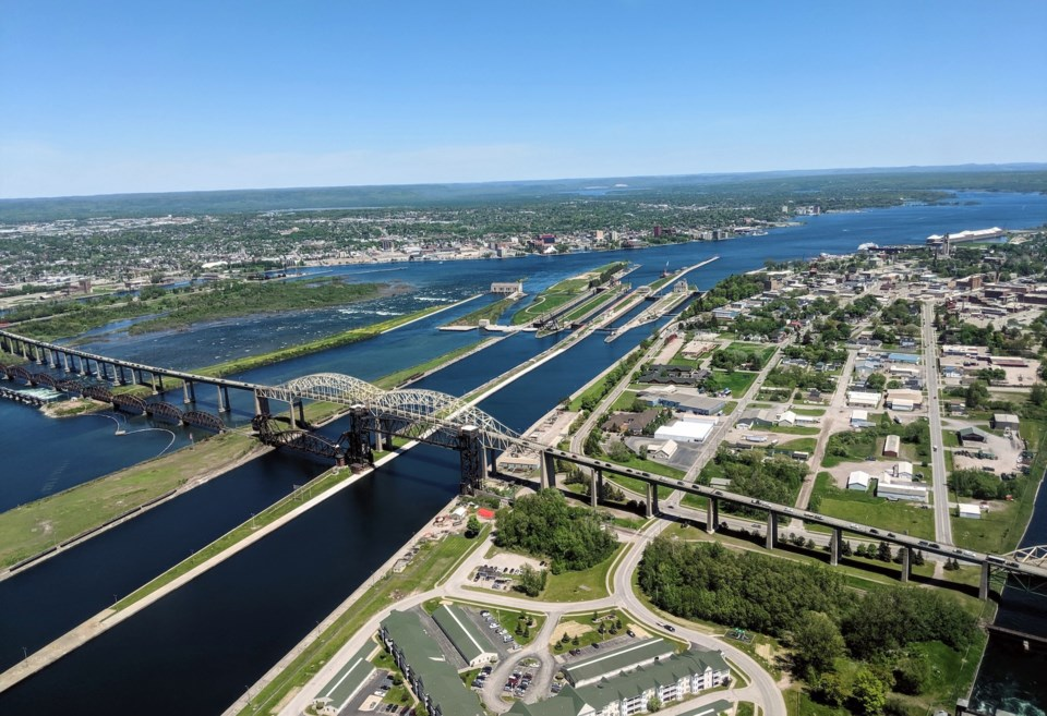 Aerial view of Sault Ste. Marie and the International Bridge