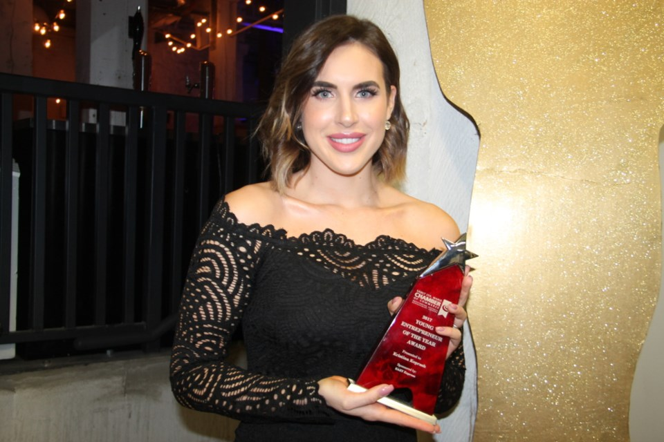 Kristina Koprash, owner/operator of KRUSH Clothing Boutique, won the Young Entrepreneur of the Year Award at the Sault Ste. Marie Chamber of Commerce's Outstanding Business Achievement Awards, Jan. 20, 2018. Darren Taylor/SooToday