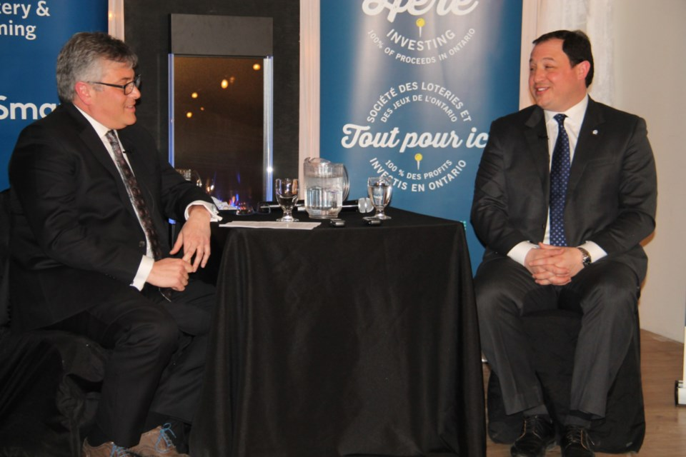 Sault Mayor Christian Provenzano takes questions from Carlo Spadafora, the Sault Ste. Marie Chamber of Commerce board's 1st vice president, at a chamber luncheon and fireside chat held at The Grand Gardens Verdi Ballroom, March 28, 2019. Darren Taylor/SooToday