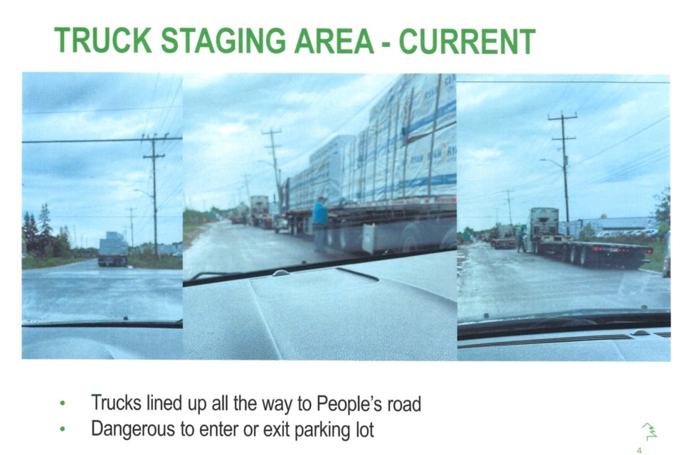 Current situation at Peoples Road and Third Line, as shown on an EACOM presentation prepared for Monday's City Council meeting