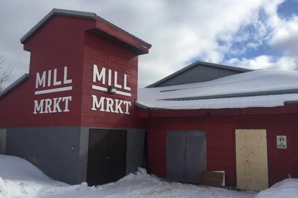 Newly installed plywood hoarding covers back vendor's entrance at burglarized Mill Market on Monday, Feb. 10, 2020. David Helwig/SooToday