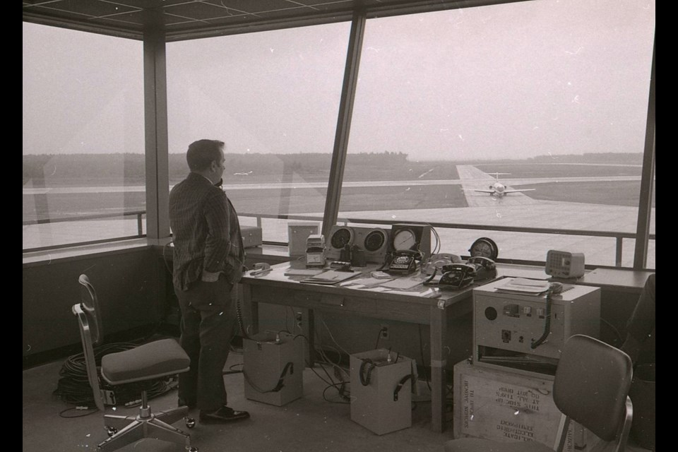 Howard Steinberg, Sault Ste. Marie air traffic controller, Sept. 16, 1970. Though the airport opened in 1964, the tower did not open until Sept. 3, 1970. SSMPL archive