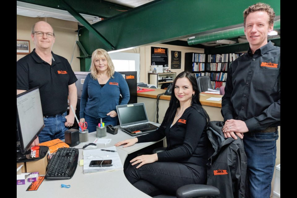 Geoffrey McLurg, Main Filter engineering manager and technical specialist, Cassandra Becking, technical engineering support, Rianne MacKenzie, marketing, and Patrick Gladu, business development, will be representing Sault company Main Filter at two trade shows in Germany this month. Photo taken March 21, 2019, Darren Taylor/SooToday