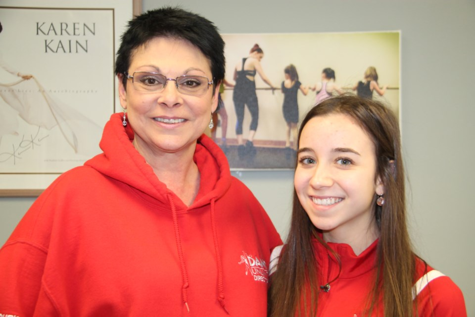 Christine Cloutier, Soo Dance Unlimited owner/director and dance student Emma Vallecorsa, March 4, 2020. Darren Taylor/SooToday