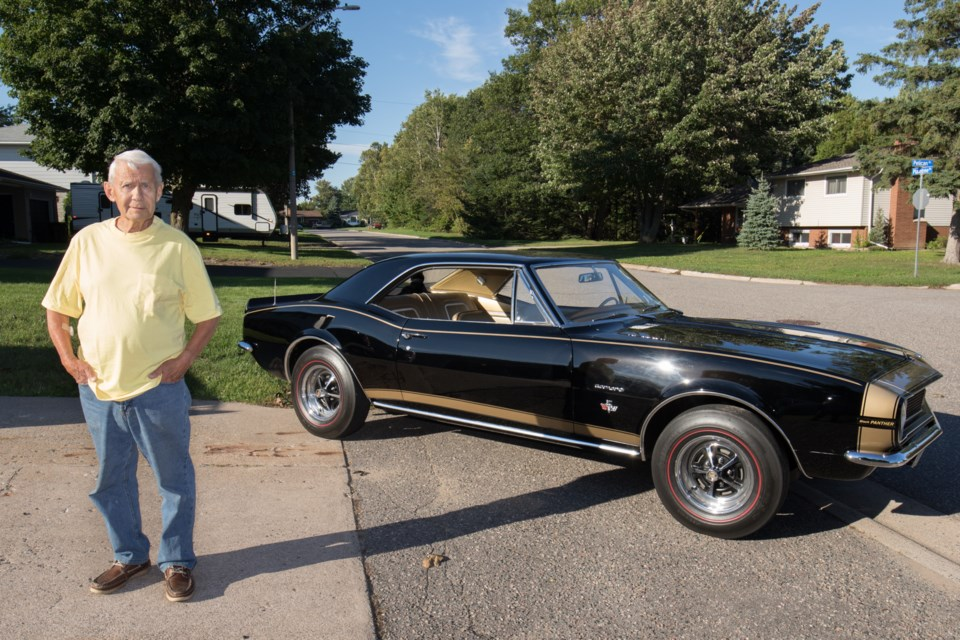 Bob Simonen and his 1967 Black Panther Camaro. The vehicle is one of three known to exist and Simonen has been the sole owner since he drove it off the lot almost 50 years ago. Jeff Klassen/SooToday