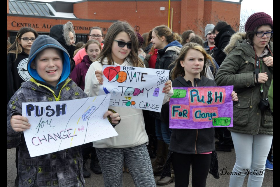 Central Algoma Secondary School students from grades 6 - 8 met and accompanied Joe Roberts to show support for Push For Change. Donna Schell for SooToday