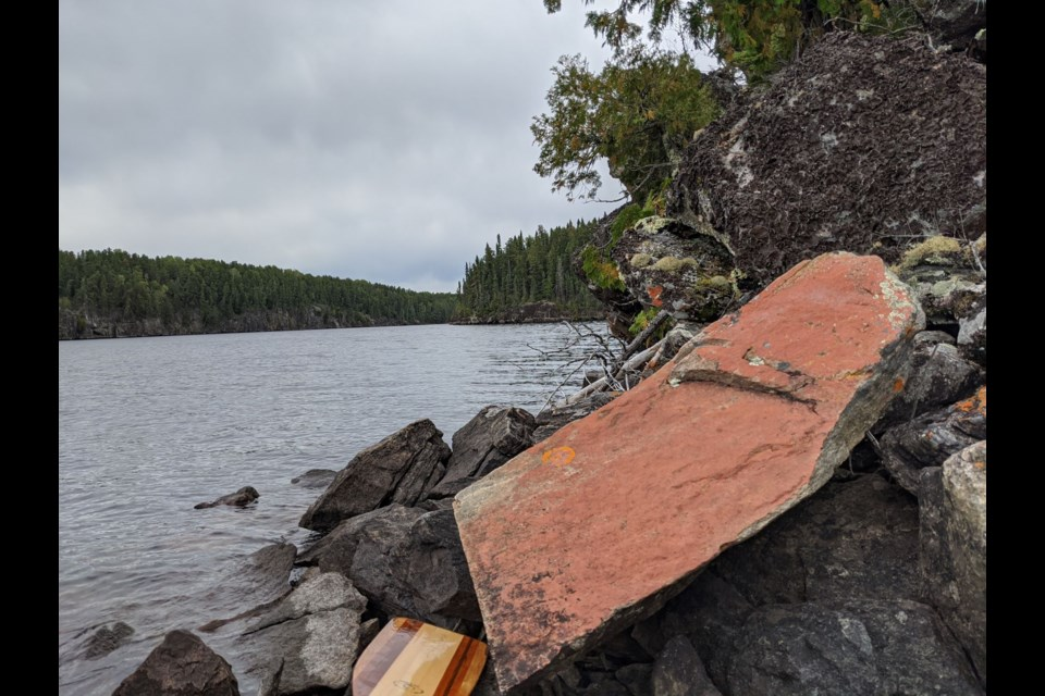 The red ochre seems to have many layers of ochre and is not as faded as many of the morphs on Mooseland Lake.