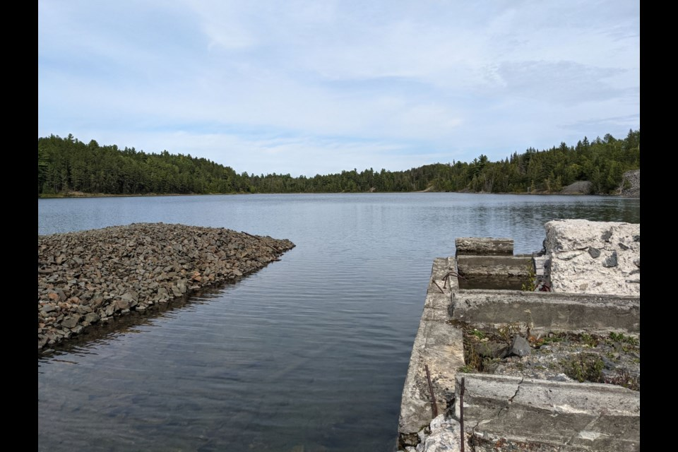 At the east end of Kerr Lake, on a hill are the remains of the Henry Drummond homestead.