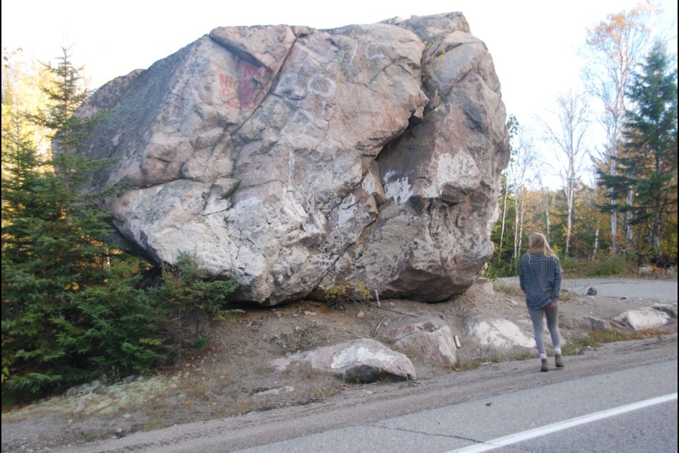 A  very visible erratic is found near Cartier on Highway 144 North.