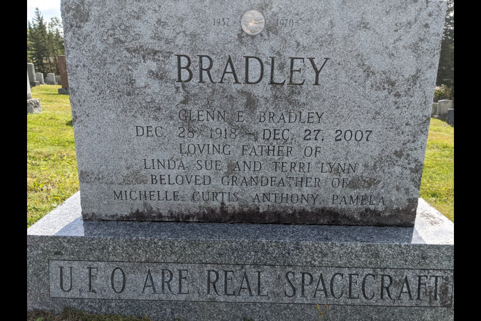 Glenn Bradley had a passion for UFOs as his headstone states.  He retired to nearby Matachewan.