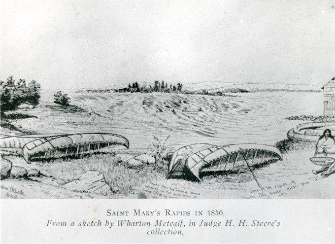 A drawing by artist Wharton Metcalfe, who was part of the Mica Bay incident of 1849. Sault Ste. Marie Public Library archive