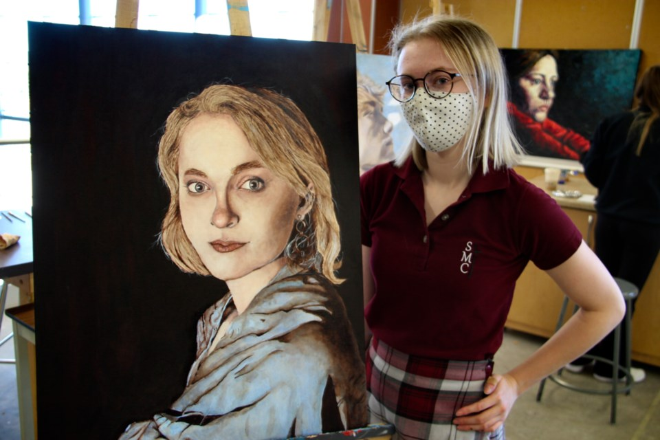 Madison Delfgou, Grade 12 St. Mary's College art student with self portrait, Nov. 12, 2020. Darren Taylor/SooToday