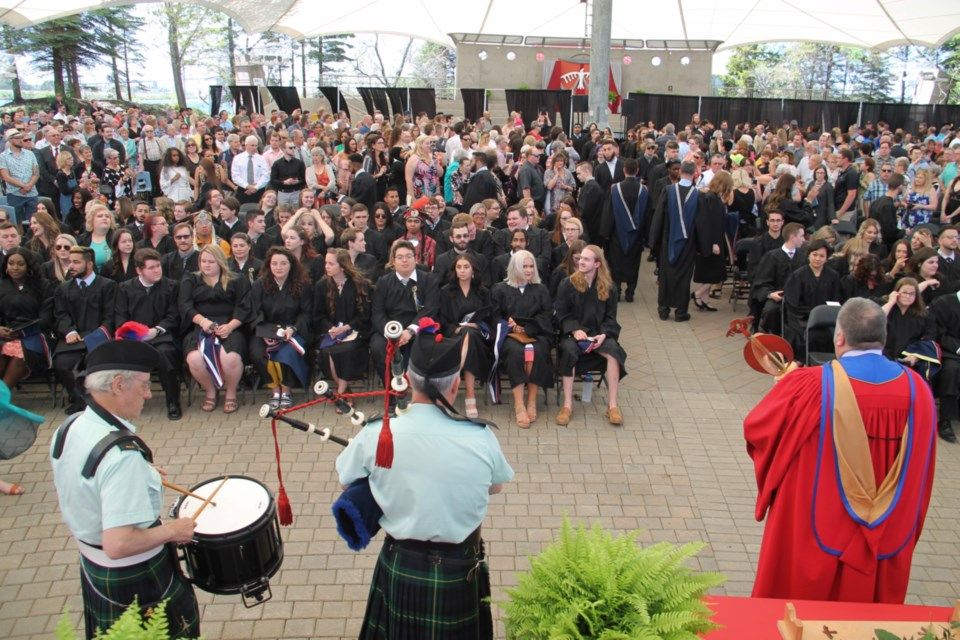 No one will be piping in Algoma University's class of 2020 in June as originally scheduled (due to COVID-19 restrictions), but Algoma officials hope to have a convocation ceremony in October or November. 2019 convocation photo by Darren Taylor/SooToday