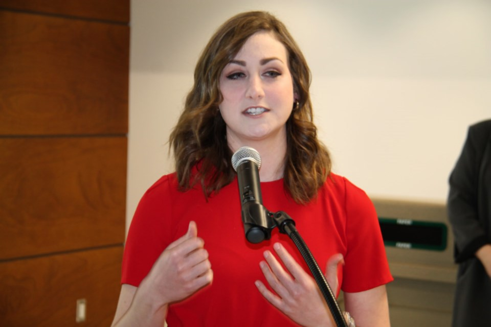 Katie McLellan, Algoma University student and Sault College graduate, speaks at a diploma to degree agreement signing ceremony at Sault College, Jan. 24, 2019. Darren Taylor/SooToday
