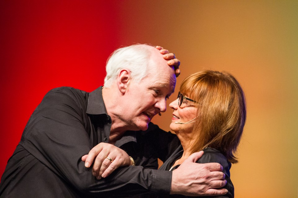 Colin Mochrie and Debra McGrath during a 'moving people' improv skit at the Kiwanis Community Theatre Centre on Friday, May 6, 2016. Donna Hopper/SooToday