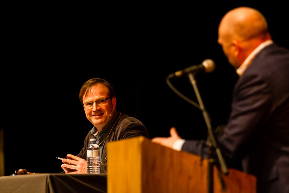 CBC's The Debaters live at the Sault Community Theatre Centre on Sunday, March 4, 2018. Host Steve Patterson is pictured. Donna Hopper/SooToday