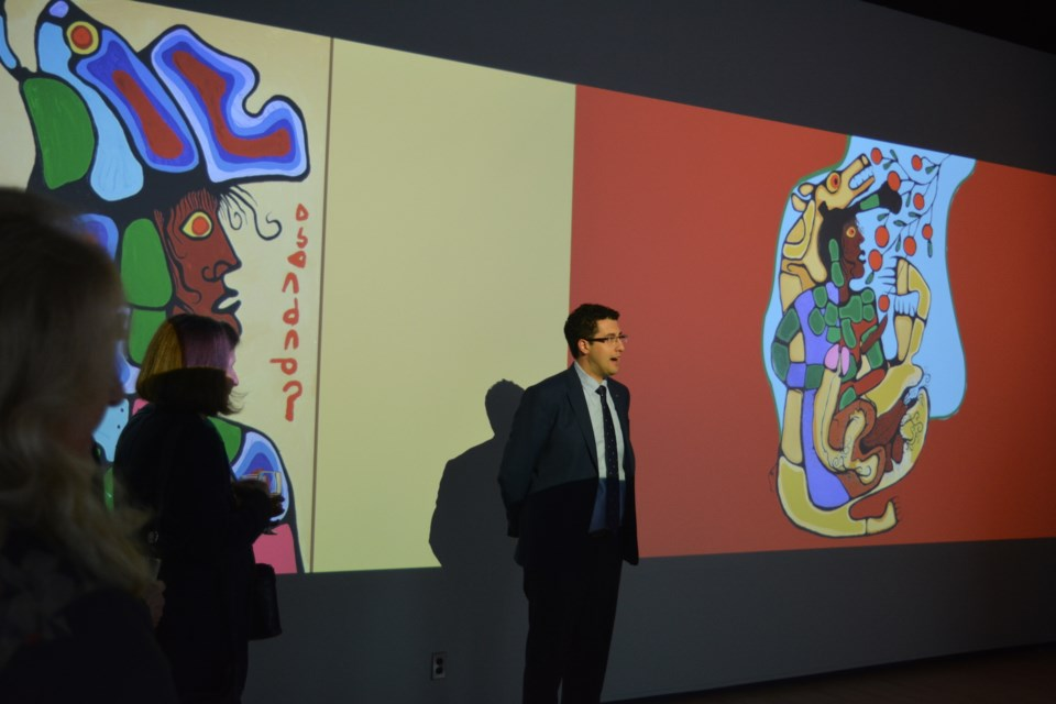 Sault Ste. Marie Mayor Christian Provenzano was among dignitaries to partake of Algoma Fall Festival's invitation to wander into the world of Norval Morrisseau on Friday. SooToday Staff