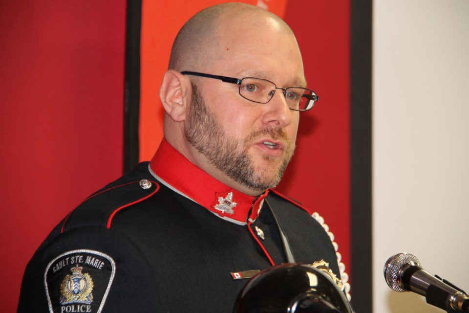 Sault Police Service Cst. Shaun Beaulieu will be in charge of fundraising for the 2019 Special Olympics Ontario Provincial Winter Games.  Beaulieu spoke at a Games announcement, May 3, 2017.  Darren Taylor/SooToday