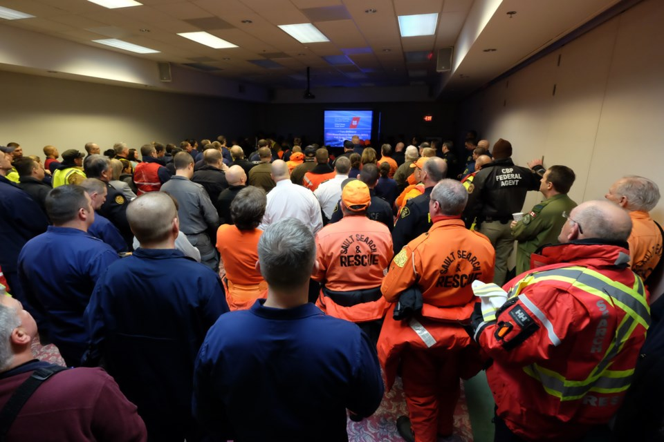 A group briefing before Saturday's simulation. Around 200 personnel from 27 different Canadian and U.S. organizations took part Saturday's events.  Photo by Jeff Klassen for SooToday