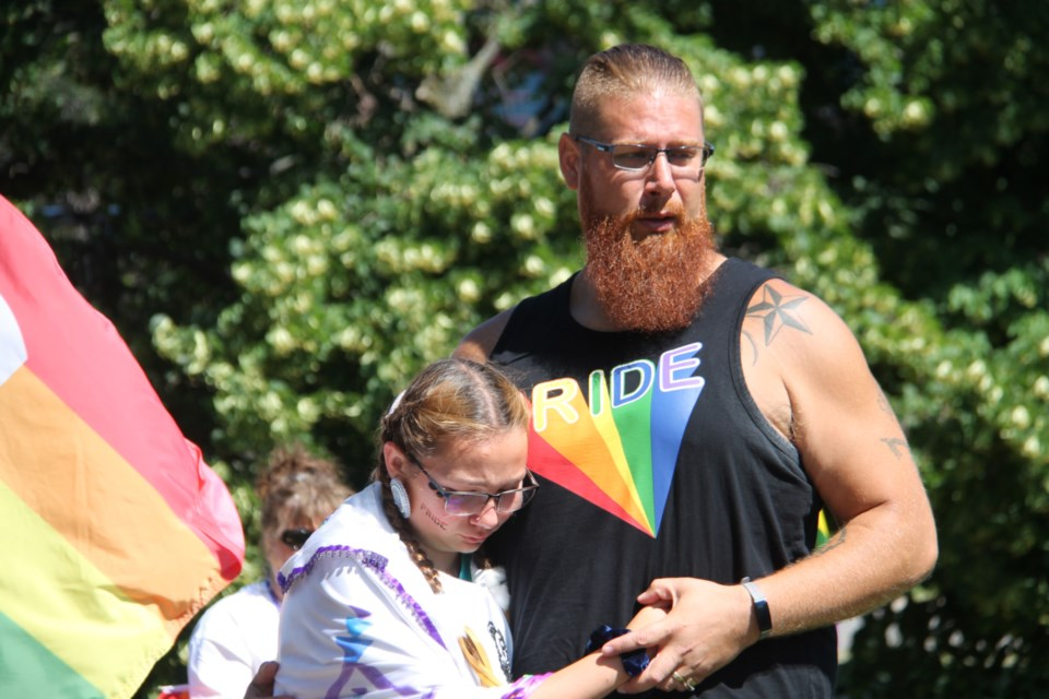 Albert Lariviere and daughter Makenna at the launch of the Sault's sixth annual Pridefest at the Civic Centre, July 21, 2019. Darren Taylor/SooToday