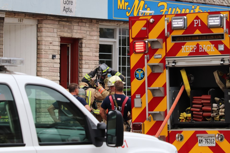 City police and fire responded to a fire on Gore Street on Aug. 4, 2020. Brad Coccimiglio/SooToday
