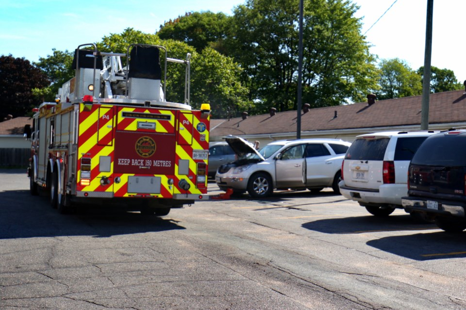 Sault Ste. Marie Fire Services responded to a report of a vehicle at Arby's on Great Northern Road shortly before noon Tuesday. James Hopkin/SooToday