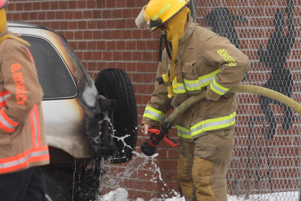 Firefighters responded to a burning vehicle at the Moose Lodge this afternoon. Kenneth Armstrong/SooToday