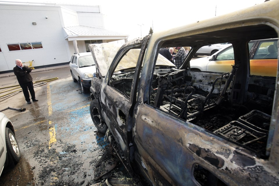 The scene of a truck fire in the No Frills parking lot on Second Line at Korah Road. Kenneth Armstrong/SooToday