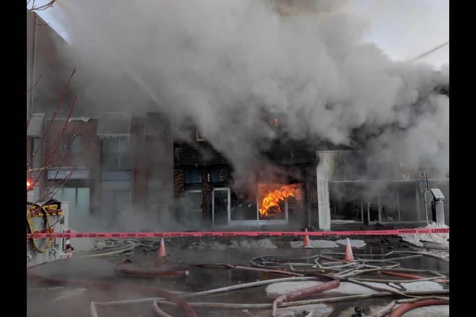 Firefighters battle a major fire in the 200 block of Queen Street East on Thursday, Jan. 31, 2019. Darren Taylor/SooToday