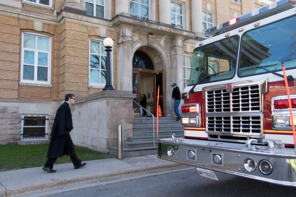 Sault Ste. Marie Fire Services responded to an alarm call at the courthouse on Monday morning. Jeff Klassen/Sootoday