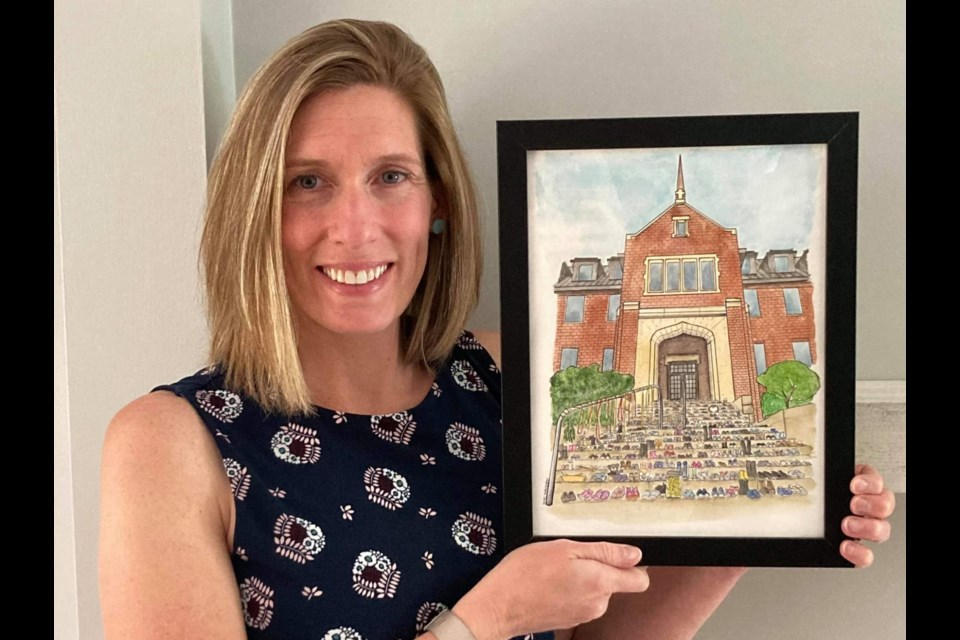 Local artist Amy Williams has made roughly $4,500 in donations for Shingwauk Residential Schools Centre in less than week through the sale of illustrated portraits of the 'shoe memorial' on the steps of Shingwauk Hall.