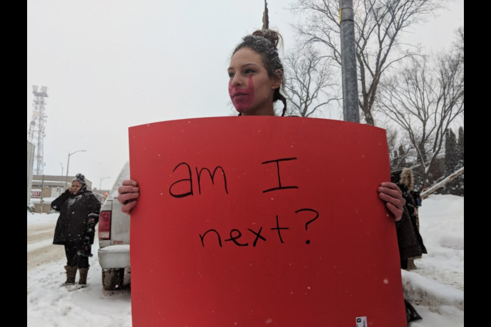 Indigenous and non-Indigenous members of the public and elected officials gathered outside the Sault Ste. Marie Courthouse to mark the 12th annual national rally and march for Missing and Murdered Indigenous Women and Girls (MMIWG), Feb. 14, 2019. Darren Taylor/SooToday