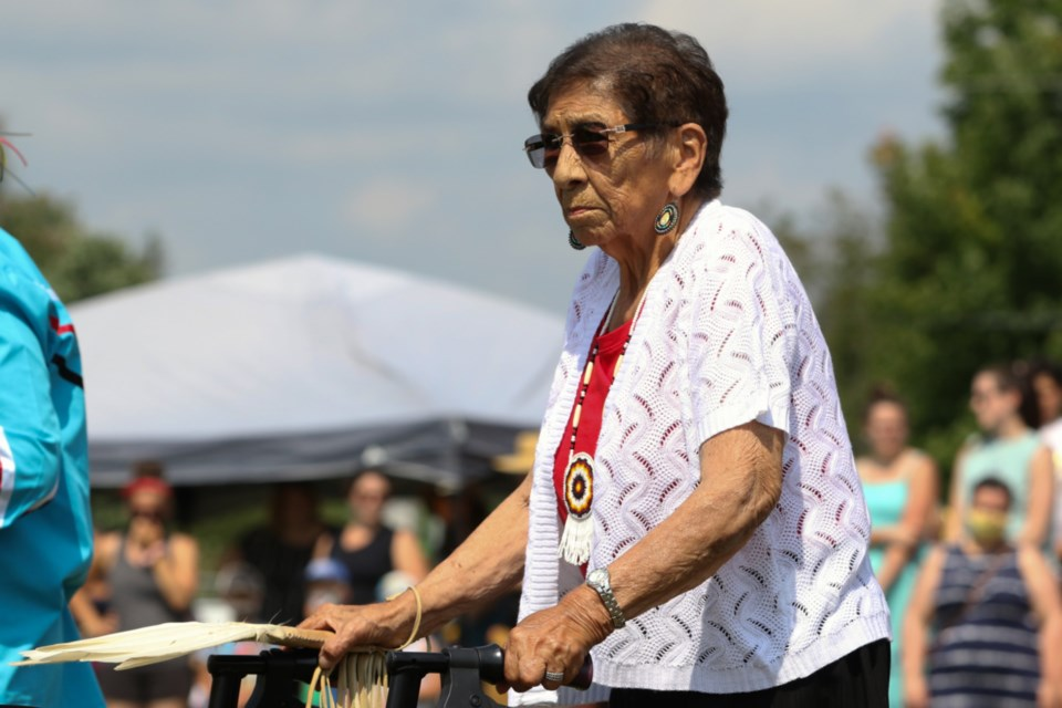 Garden River First Nation Elder and Shingwauk Residential School survivor Shirley Roach participated in grand entry at the Garden River Pow Wow Aug. 21.