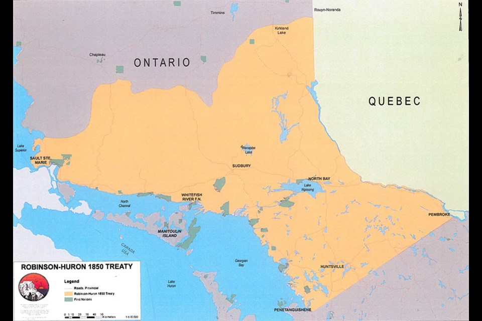 A map of Robinson Huron Treaty territory. Whitefish River First Nation website