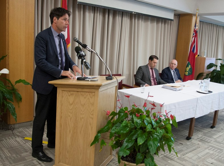 Health Minister Eric Hoskins speaks about the probe into Algoma Public Healths board Tuesday at the Civic Centre. Kenneth Armstrong/SooToday