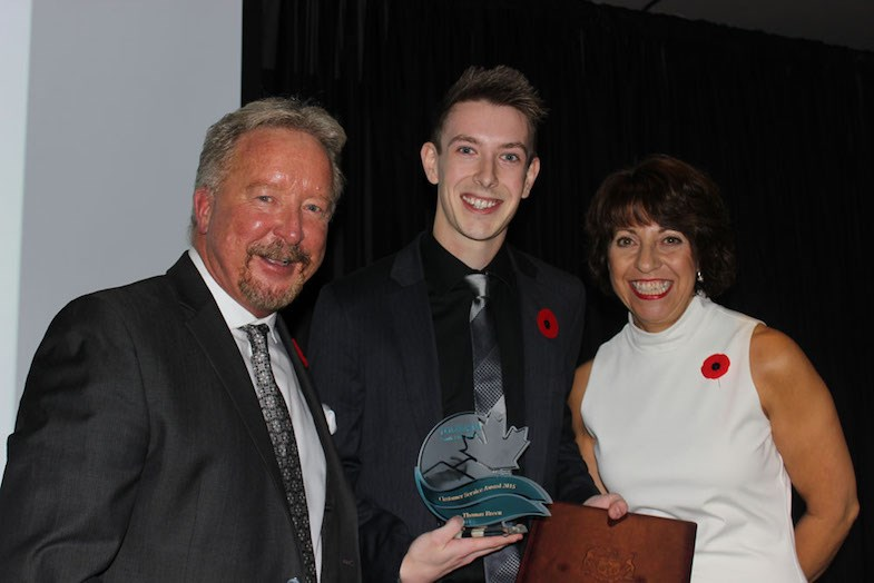 Sault Ste. Marie Ontario Travel Information Centre Staff and Thomas Breen win customer service award at the 2015 Tourism Sault Ste. Marie Awards. Submitted photo.