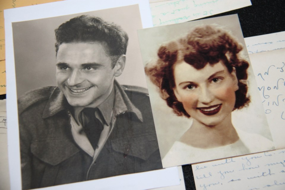 Carl Mann, Sault native and veteran, wrote over 400 letters to his sweetheart and future wife Jean during the Second World War.  Photos supplied by Donald Mann and Johanne Messier-Mann.  Darren Taylor/SooToday