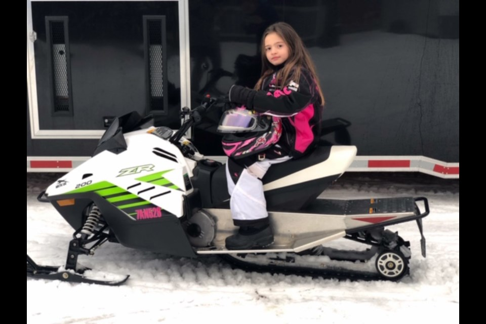Eight-year-old Ava Dawn Sartini of Sault Ste. Marie will be competing in the Canadian Snowcross Racing Association (CSRA) Rockstar Energy Can/Am International Snowcross races, to be held at The Yard (west of The Machine Shop at the former St. Marys Paper site) Jan. 12 and 13. Photo supplied by Debbie McMillan.