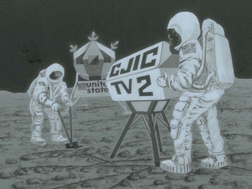 CJIC moon landing painting from 1969 photo supplied