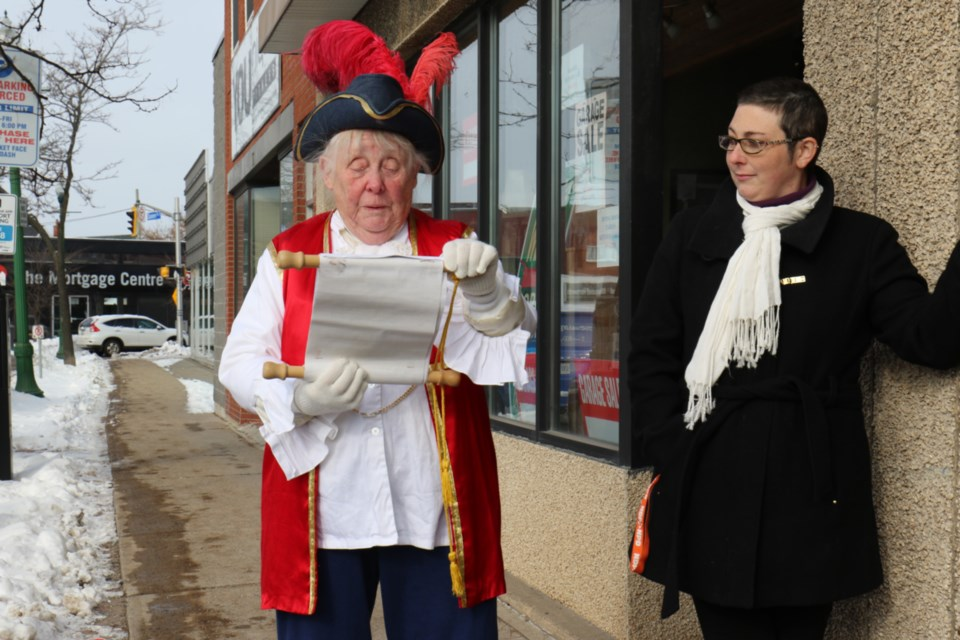 A 'town crier' was enlisted to announce the opening of the Sault Ste. Marie Health Coalition office Tuesday. James Hopkin/SooToday