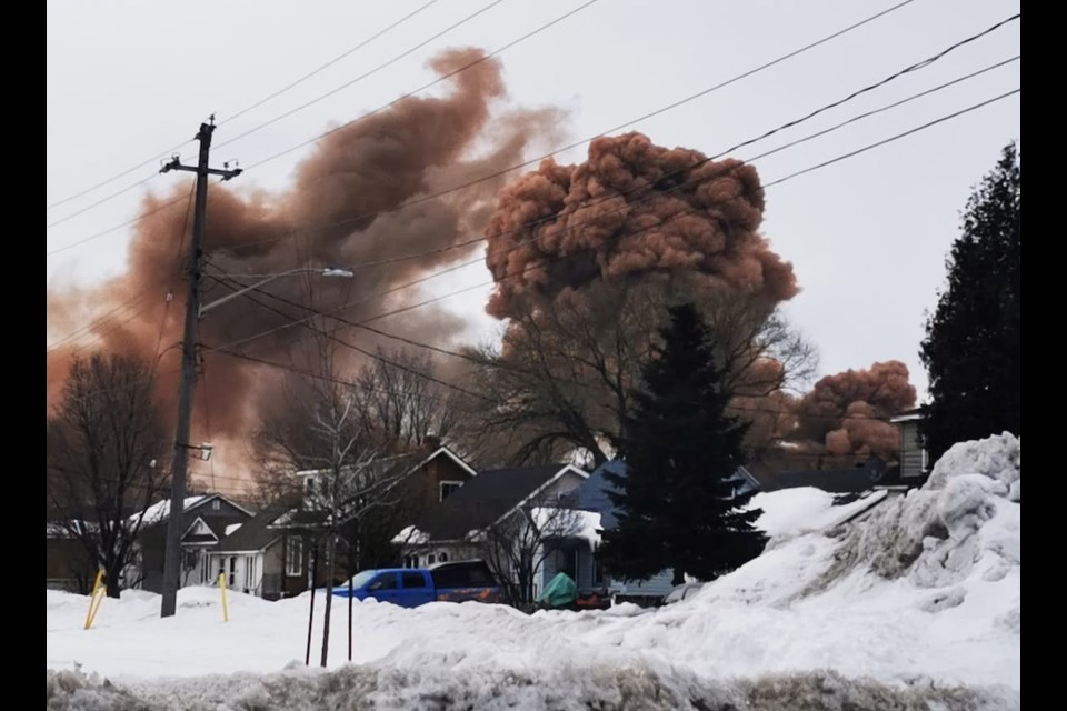 Reader submitted photo shows thick, dark smoke in the area of Algoma Steel the morning of Thursday, Feb. 27, 2020