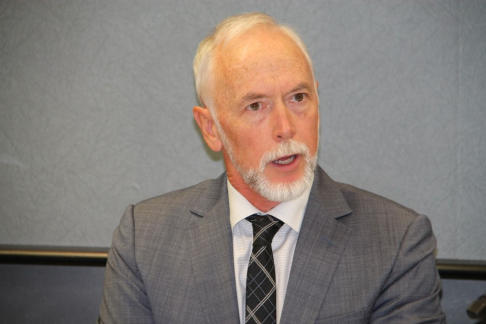 Alan Coutts, Noront Resources president and CEO, at a media conference providing an update on the Ring of Fire project at Algoma Steel, Aug. 27, 2019. (Darren Taylor/SooToday)