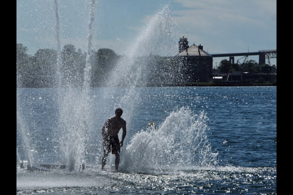 A person swims out to the Millennium Fountain in this July, 2016 file photo. Michael Purvis/SooToday