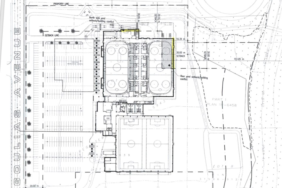This building plan, presented on Wednesday to the city's committee of adjustment, shows minor changes to parking configurations from earlier versions, including parking adjacent to Goulais Avenue behind a row of vegetation