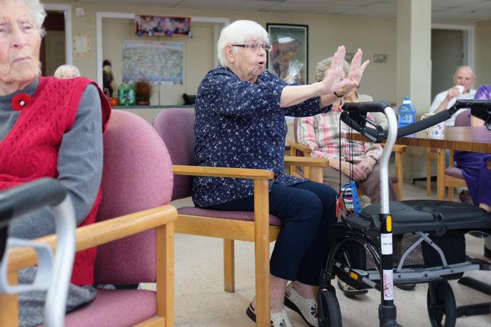 Christine Baxter, 86, revealed herself to be a reservoir of jokes  at Great Northern Retirement Home's 'Tell-A-Joke' resident get-together on Nov. 1. Jeff Klassen/SooToday